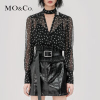 MOCO春秋设计感性感V领碎花真丝心机上衣衬衫女潮长袖MA183TOP105