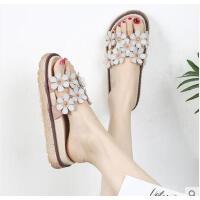 沙滩拖鞋女百搭潮款外穿时尚海边厚底一字拖花朵网红凉拖鞋
