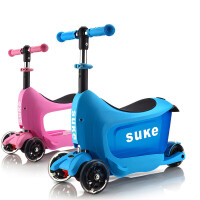 儿童滑板车2-3岁宝宝可坐推三合一四轮闪光多功能踏板滑滑车w2g