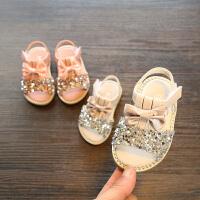 2018夏款女宝宝凉鞋 水钻公主学步鞋儿童软底露趾宝宝周岁鞋0-2岁