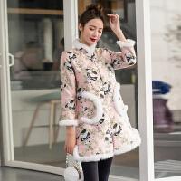 旗袍冬款外套女长袖中国风复古夹棉加厚改良版旗袍裙少女唐装棉袄 淡粉色夹棉 (优质面料)