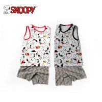 snoopy/史努比2018夏新款男女童装印花纯棉透气背心套装LSN8M065