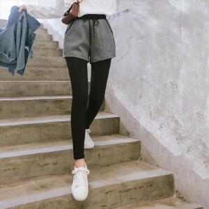 七格格黑色打底裤女假两件2017秋冬季新款高腰外穿小脚薄九分裤休闲裤子