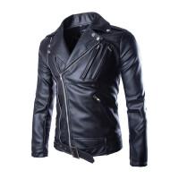 2017新款个性多拉设计男士PU皮夹克韩版时尚机车皮衣批发Y105 黑色