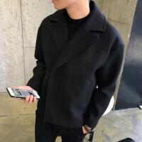 2018秋季新款风衣男短款秋季褂子毛呢外套潮流发型师翻领呢子大衣韩版宽松披风