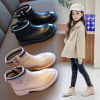 女童短靴皮鞋靴子儿童鞋加绒靴头二棉马丁靴秋冬款潮靴