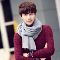 新款男士围巾潮韩版秋冬季学生纯色粗毛线针织加厚保暖围脖年轻人