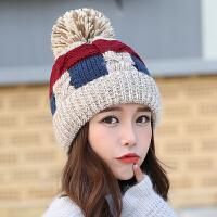 冬季帽子女士韩版潮加绒加厚可爱拼色毛线帽秋冬天保暖护耳针织帽