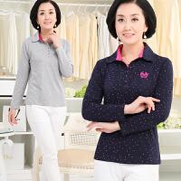 中老年女装秋装新款中年女士上衣打底衫妈妈装长袖翻领T恤女40岁