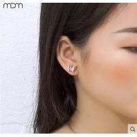 18K玫瑰金气质耳钉耳饰钛钢礼物女韩版时尚磨砂可爱蝴蝶 可礼品卡支付