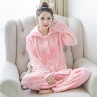 法兰绒睡衣女冬长袖开衫韩版加厚大码新品可爱珊瑚绒家居服套装