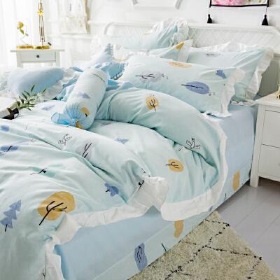床单四件套棉公主风少女被套款棉小清新床上4田园韩式  2.0米宽床(被套220*240) 4件套 发货周期:一般在付款后2-90天左右发货,具体发货时间请以与客服协商的时间为准