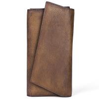 新款原创复古简约手拿包手工竖长款钱包真皮包头层牛皮个性男女通用潮