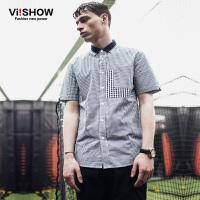 VIISHOW夏装格纹衬衫男短袖 修身纯棉寸衫男潮 男士半袖衬衣