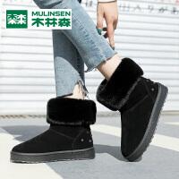 木林森新款冬季时尚百搭潮流加绒保暖时尚女士棉鞋雪地靴女鞋