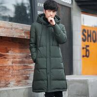 冬季中长款羽绒服男韩版修身过膝连帽冬装灰鸭绒纯色青年潮流外套