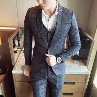 男士西服三件套装韩版修身西装伴郎礼服休闲外套小西装帅气格子潮 灰色 L