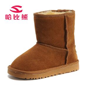 哈比熊童鞋儿童雪地靴女童靴子男童加绒牛皮靴子秋冬新款宝宝棉鞋