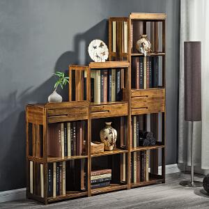 书架 简易多层落地楠竹整理置物架中式客厅复古书柜储物收纳架子满额减限时抢家具用品