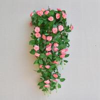 墙面装饰仿真花束玫瑰花藤客厅墙上壁挂式装饰花仿真绿萝假花套装