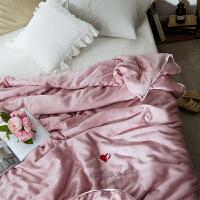 家纺简约天丝夏被空调被双人可水洗双面天丝刺绣素色夏凉薄被子 天丝夏被-梦幻粉 200X230cm
