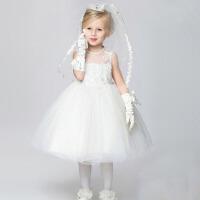 花童礼服裙白色表演演出服女 六一新款儿童礼服女童公主裙婚纱礼服 白色