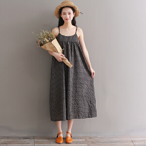 RANJU然聚 2018夏季女装新品新款文艺复古中长款宽松A字格子吊带连衣裙内搭外穿
