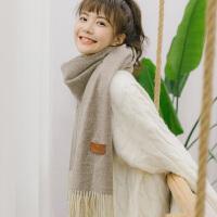 秋冬季韩版马卡龙过度色流苏保暖仿羊绒纯色围巾学生亲肤披肩两用