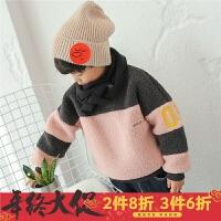 男童卫衣2017秋冬新款韩版儿童冬装外套双层加厚圆领套头羊羔毛