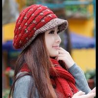 防寒冬季帽子 女 韩版 潮毛线帽子 围巾两件套装女冬天可爱