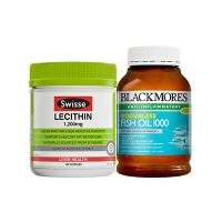 【网易考拉】【心脑血管健康组合】 Swisse 大豆卵磷脂150粒+澳佳宝 无味深海鱼油400粒 2件装