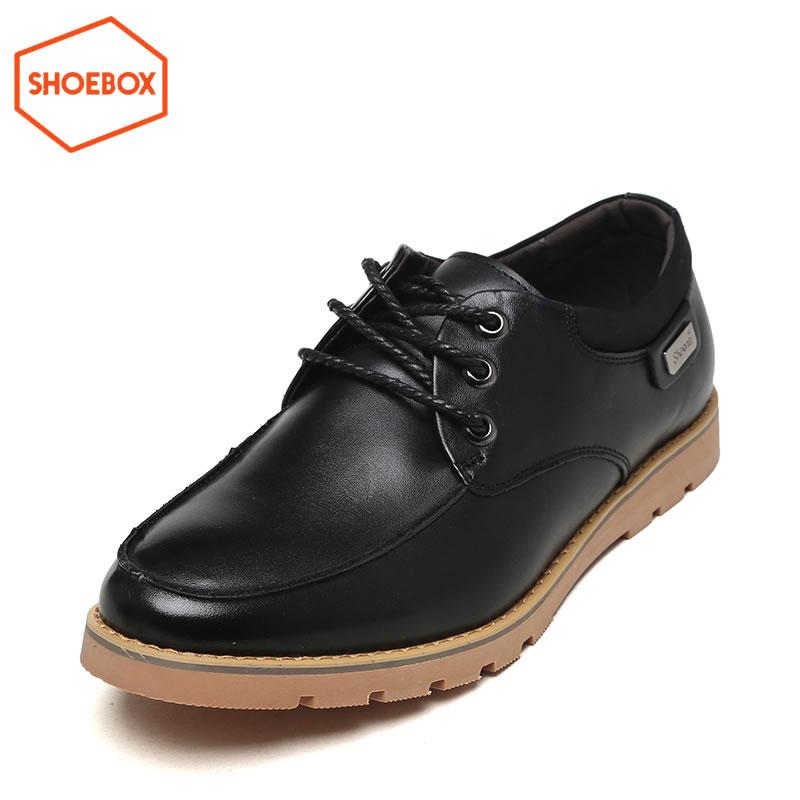 达芙妮旗下SHOEBOX/鞋柜春秋季商务圆头鞋系带透气男低帮鞋单鞋