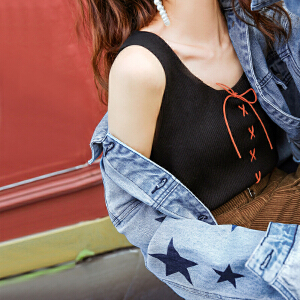 【618大促 每满100减50】吊带背心女短款黑色上衣2018新款春装韩版显瘦外穿修身针织打底衫