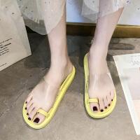ins少女鞋糖果色拖鞋女外穿时尚夏季新款套趾百搭厚底沙滩松糕鞋