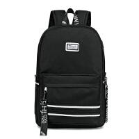 中学生书包女双肩包大容量韩版原宿高中初中女生校园背包 黑色标准版 买一八