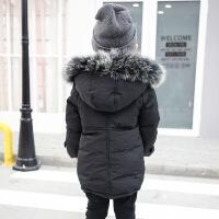 2017冬季新款韩版儿童纯色大毛帽子中长款中小童棉衣品牌童装