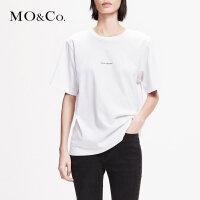 MOCO2019春白色宽松圆领纯棉字母短袖bf潮T恤女MAI1TEE001 摩安珂