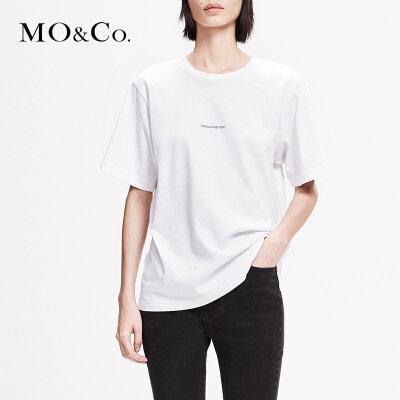 MOCO2019春白色宽松圆领纯棉字母短袖bf潮T恤女MAI1TEE001 摩安珂 满399包邮 个性标语 舒适纯棉