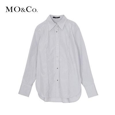 MOCO冬季新品纯色翻领中性帅气衬衫MA184SHT101 摩安珂 满399包邮 帅气翻领 硬挺廓形