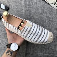 夏季帆布鞋男士百搭休闲一脚蹬老北京布鞋懒人鞋豆豆布鞋渔夫男鞋 米色 C63