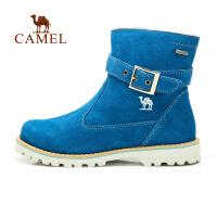 camel骆驼户外休闲徒步鞋 秋冬女款反毛皮高帮保暖短靴徒步鞋