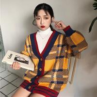 春秋女装韩版宽松中长款针织衫拼色格子开衫学生长袖毛衣上衣外套