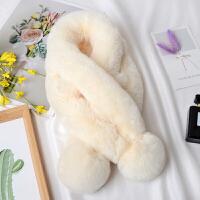 兔毛毛绒围巾围脖女韩版獭兔毛绒皮草冬季保暖小儿童毛毛交叉毛领