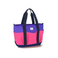 开放口袋式多功能时尚妈咪包手提单肩斜跨妈咪包大容量妈咪包y 开放式紫红-1