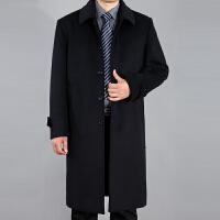 秋冬加厚中老年男士翻领羊毛大衣爸爸装过膝长款羊毛呢外套加大码