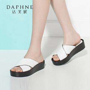 Daphne/达芙妮圆漾女鞋 夏休闲简约拼色厚底女凉鞋凉拖鞋-
