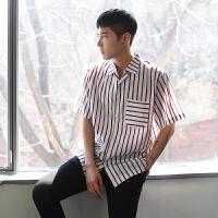 MRCYC 韩版宽松休闲衬衫日系学院风男士潮流条纹衬衣短袖上衣潮