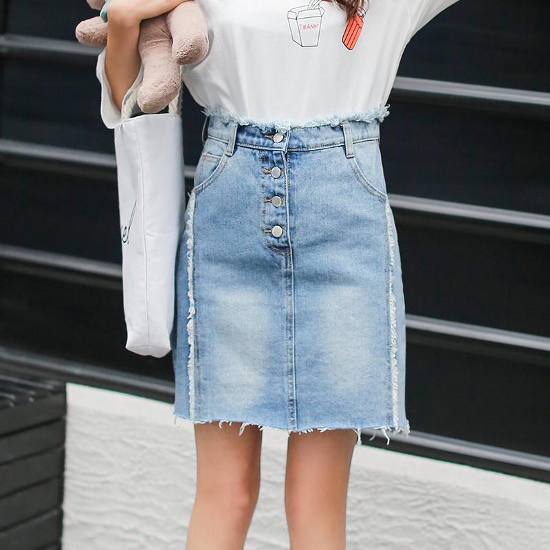 RANJU 然聚2018女装夏季新品新款时尚牛仔半身裙女短裙复古高腰A字裙潮韩版