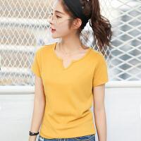 夏季韩版新品百搭宽松领纯色短袖T恤女棉显瘦小衫上衣潮