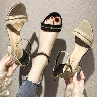 网红凉鞋女时尚新款法式复古粗跟高跟鞋ins超火配裙子穿的鞋